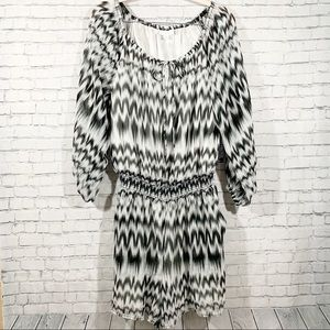 NEW YORK & CO. Chevron Romper with Long Sleeves